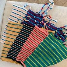 קיץ נשים סריגה פסים טנק יבול חולצות בנות סרוג סריגי חולצה ללא שרוולים טי חולצות Camis עם ספגטי רצועות