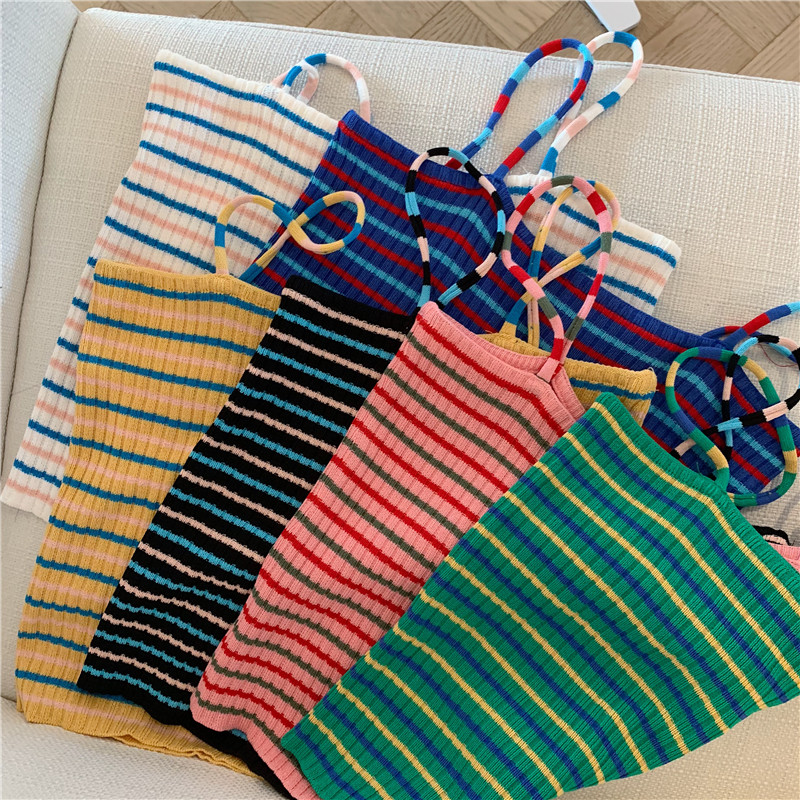 Summer Women Knitting Striped Tank Crop Tops Girls Knitted Knitwear Camisole Sleeveless Tee Shirts Camis With Spaghetti Straps