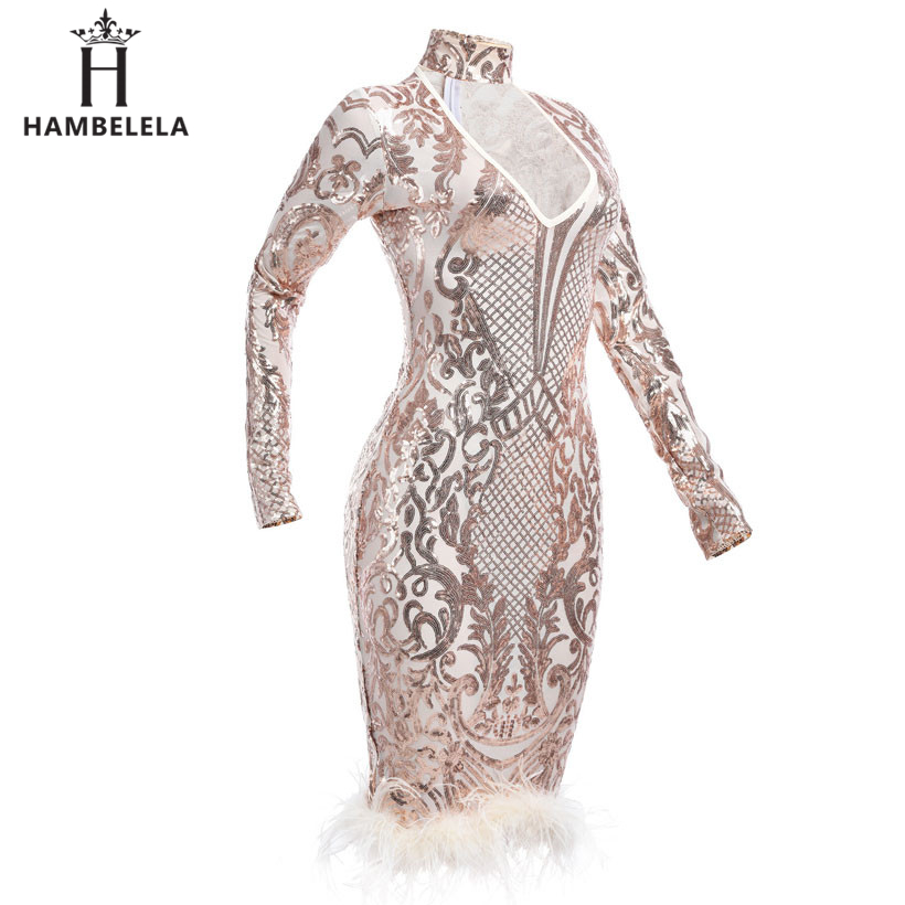 HAMBELELA 2018 Winter Long Sleeve Midi Bandage Dress Runway Lady Sexy  Sequin Mesh Women Club Party Dresses Night Clubwear-in Dresses from Women s  Clothing ... 2b3087141a41
