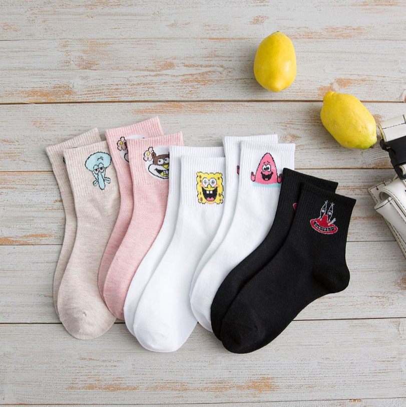 Fashion Cartoon Character Cute Socks Women Harajuku Cute Patterend Ankle Socks Hipster SpongeBob  Ankle Funny Socks Female