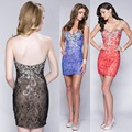 Red Black Royal Blue Lace Cocktail Dress Beaded Low Back Imported Party Dresses 2016 Sheath Short Prom Dress Vestidos de Coctel