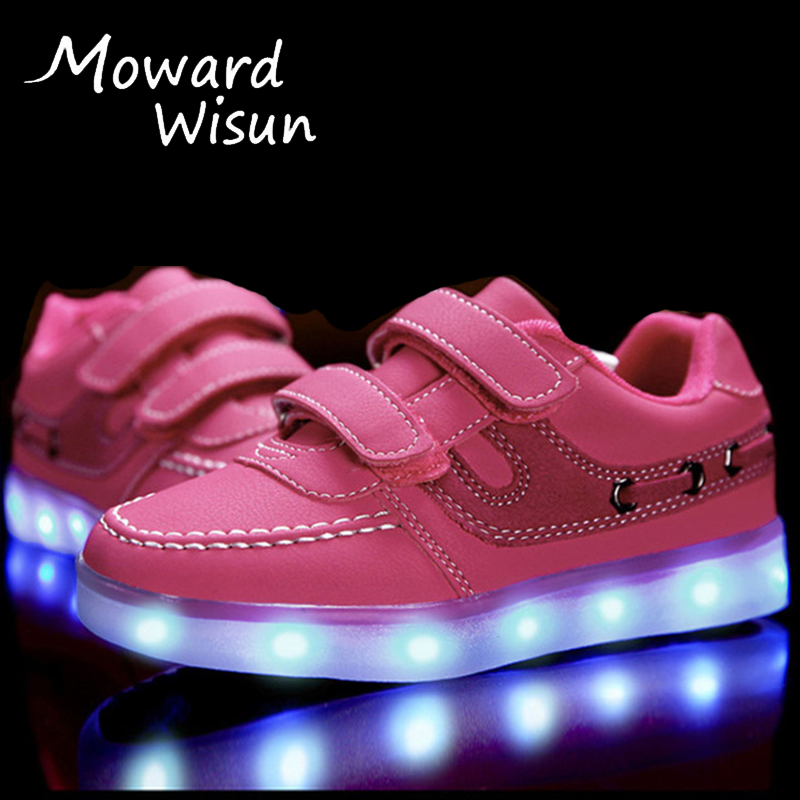 Children LED Shoes with Light Up Sneakers Boys Girls LED Slippers Kids Casual Shoes Glowing Sneakers Trainers Luminous Shoes 30