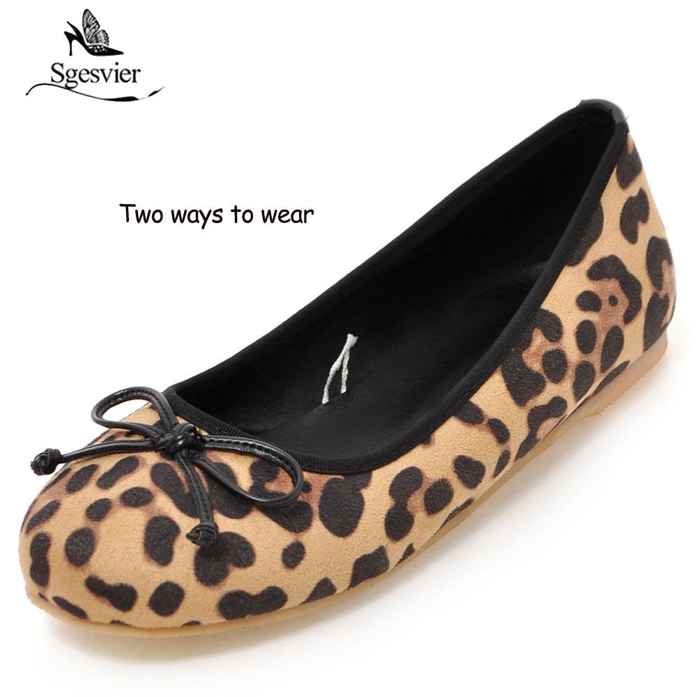 Marque Deux Coréen Mode Nouveau Ox503 Appartements De Pour Ballerines Chaussures Sgesvier Femmes Leopard Léopard D'été noir Style Doux Porter pink Façons Bowtie Ballet 0aI5x