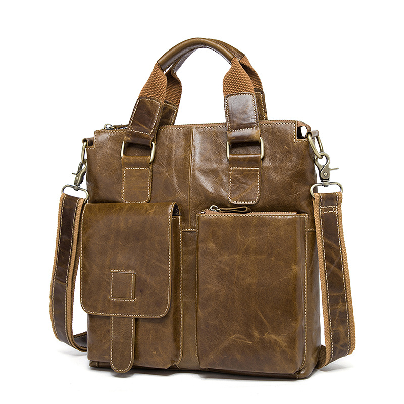 Genuine Leather Vintage Handbag Briefcase Crossbody Bags Men Bag Handbags Fashion Crazy Horse pocket Casual Tote Shoulder Bag 2018 new style genuine leather woman handbag vintage metal ring cloe shoulder bag ladies casual tote fashion chain crossbody bag