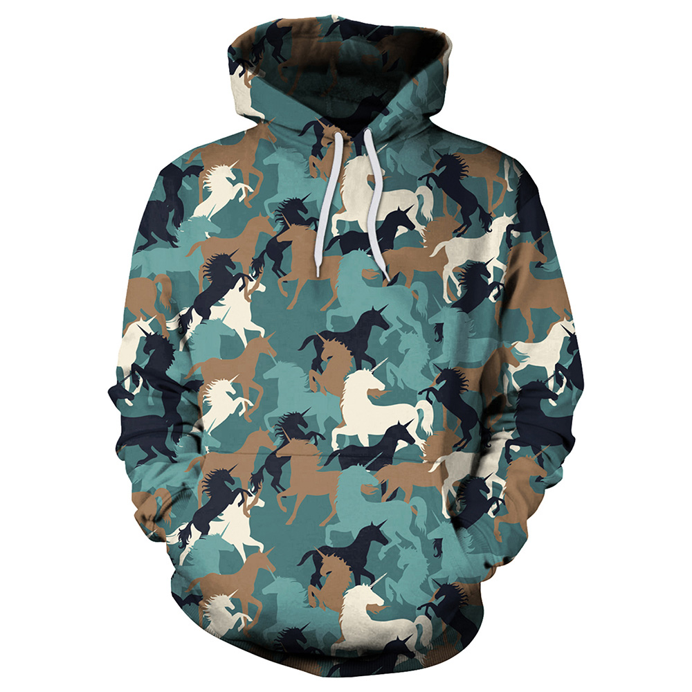 Unicorn Mens Pullover Hooded Sweatshirt Cap Pocket Printing Long Sleeve Tops Coats