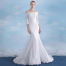 Vestidos De Novia Cheap Boat Neck Bridal Dress Real Photo Sexy Mermaid Wedding Dress Lace African Wedding Gowns 2017