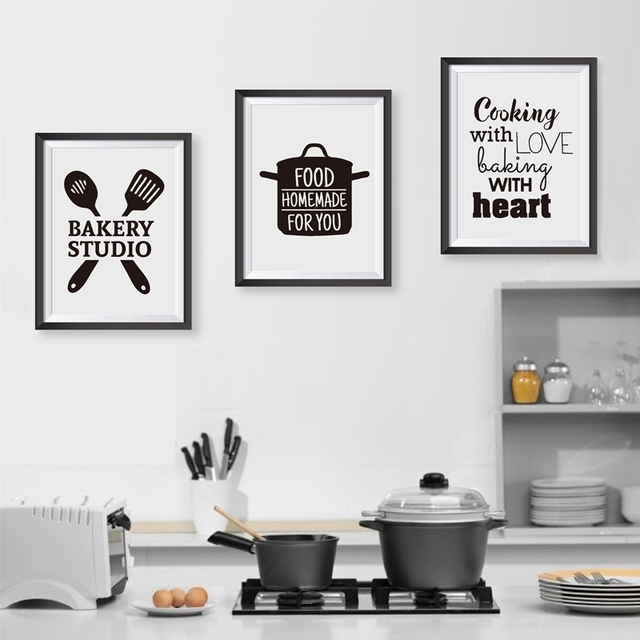Us 4 31 46 Off Cooking With Love Kitchen Wall Art Prints And Poster Baking With Heart Canvas Painting Wall Pictures Home Kitchen Decor In Painting