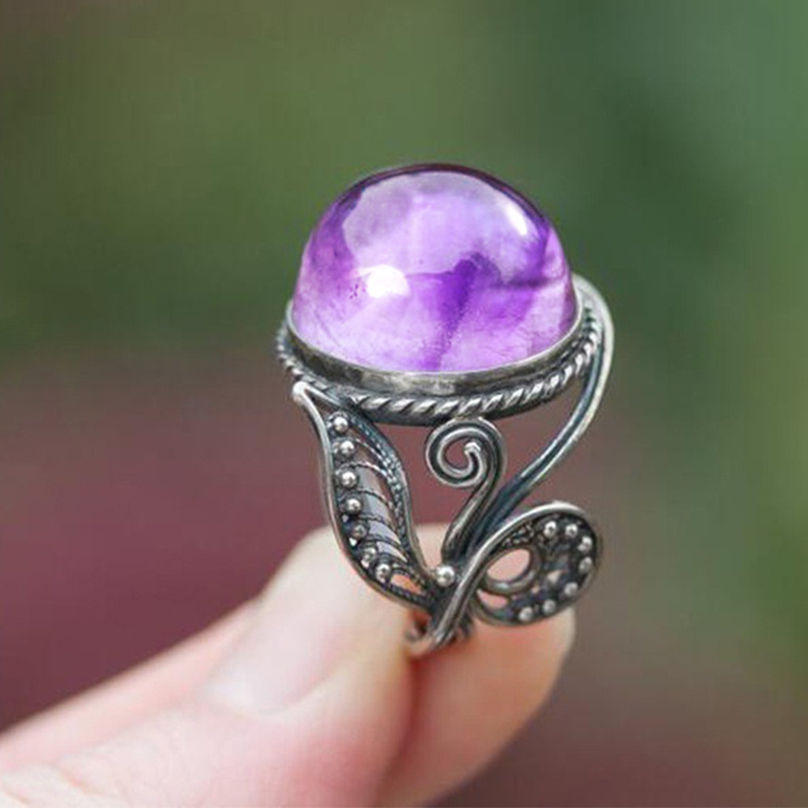 Bague Ringen Vintage Purple Created Amethyst Rings For Women 925 Silver Party Anniversary Ring Wholesale Jewelry Gift Size 6 10 in Rings from Jewelry Accessories