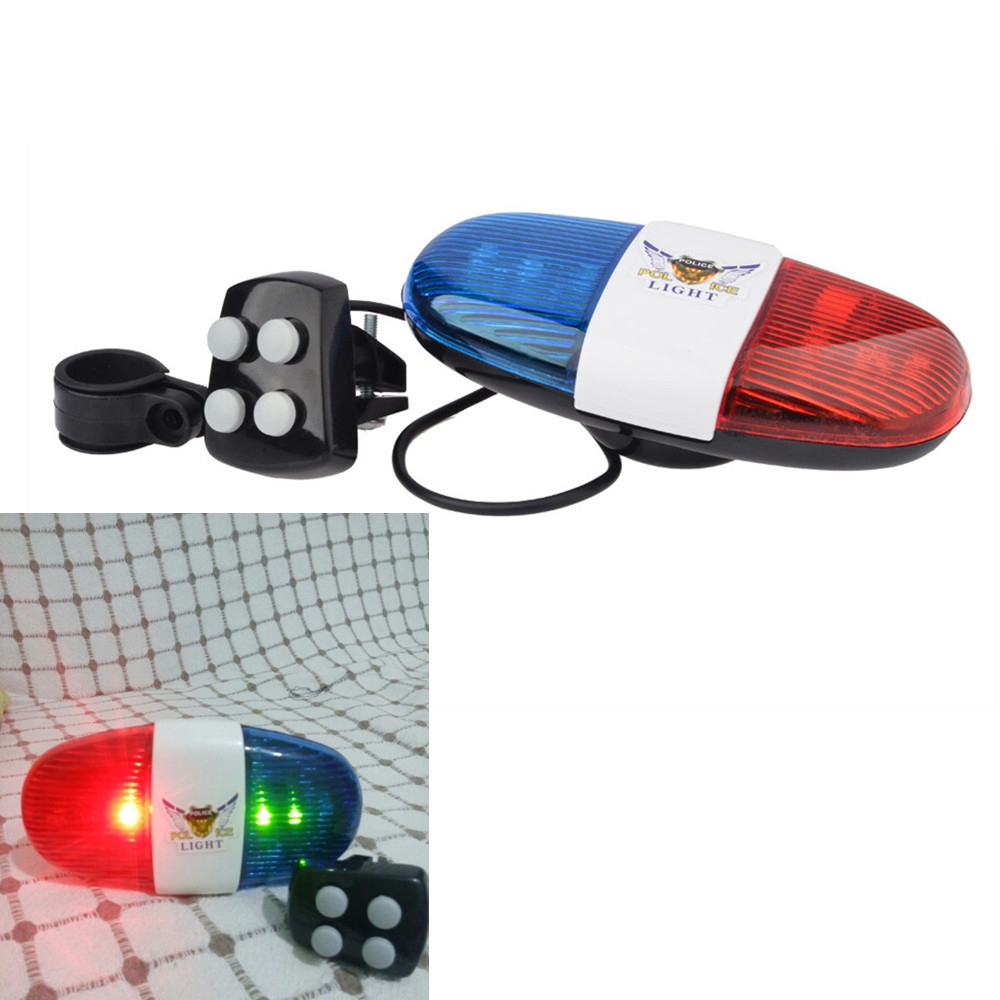 Bicycle Bell 6LED 4 Tone Bicycle Horn Bike Call LED Bike Police Light Light Electronic Siren Kids Accessories for bike Scooter