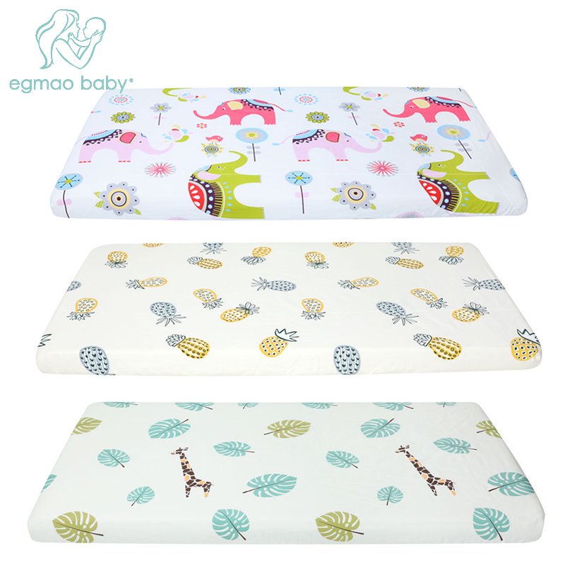 100% Cotton Lovely Pattern Newborn Bebe Bed Crib Sheet Mattress Cover Protector for Baby Woven Paddy Fitted Sheets(130*70 CM) striped fitted sheet