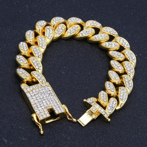 Image 4 - 2cm HipHop Gold Color Iced Out Crystal Miami Cuban Chain Gold silver color  Necklace & Bracelet Set  HOT SELLING THE HIPHOP KING