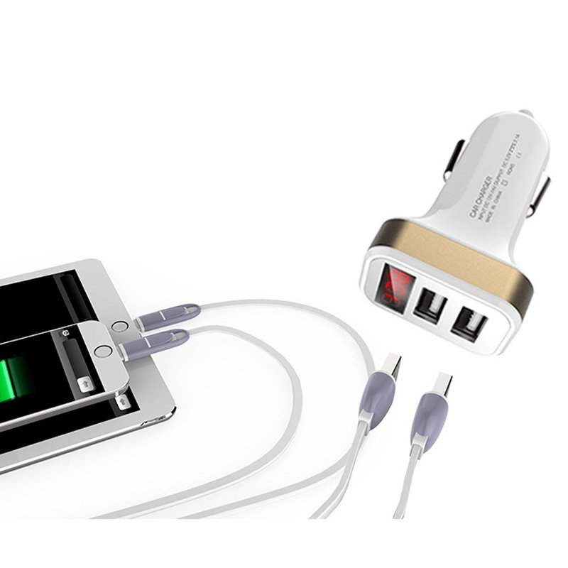Galleria fotografica 5V/2.1A Dual USB Car-Charger with LED Screen Smart Auto Car Charger Adapter Charging for Samsung Galaxy S9 S9Plus S8 Note 8 S7