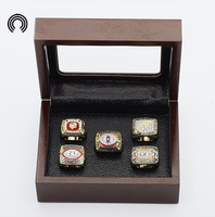 Factory Sales Ring Sets With Wooden Boxes Replica Super Bowl Copper 5pcs Packs Washington Redskins Championship