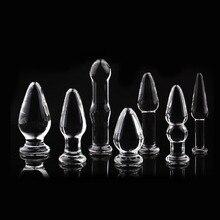 1Pc Glass Anal Butt Plugs Crystal Dildos Beads Ball Erotic Stimulator Fake Penis Female Masturbate Sex