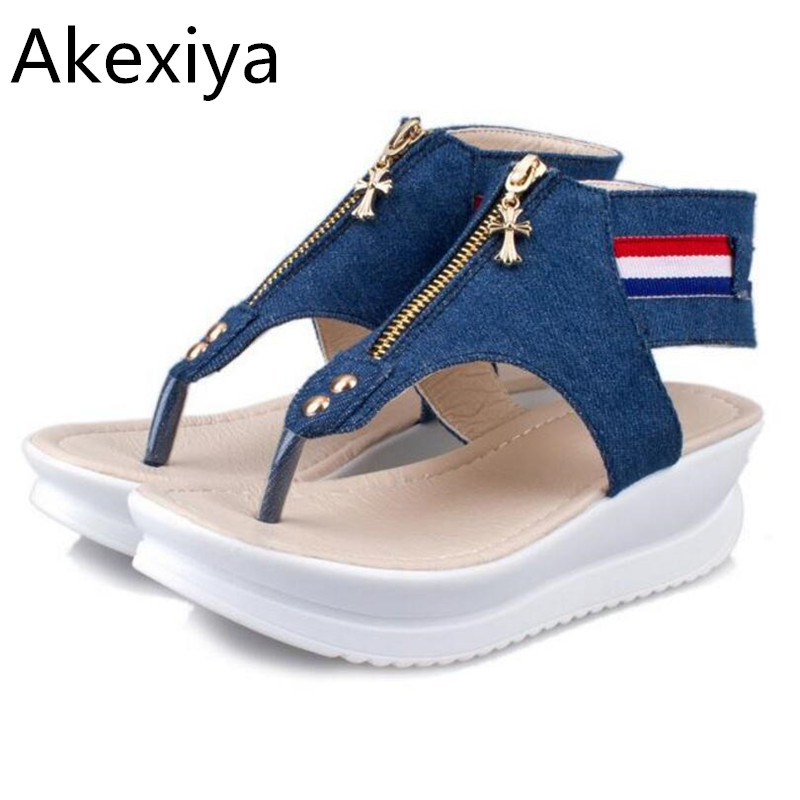 Akexiya 3cm platform open toes Flat Sandals Women 2017 New Summer Women's Sandal shoes woman sandals Female Summer Shoes 103