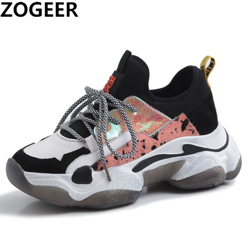 2019 New Whole Genuine Leather Dad Shoes Girl Fashion Non slip Thick Bottom Sneaker Cow Leather