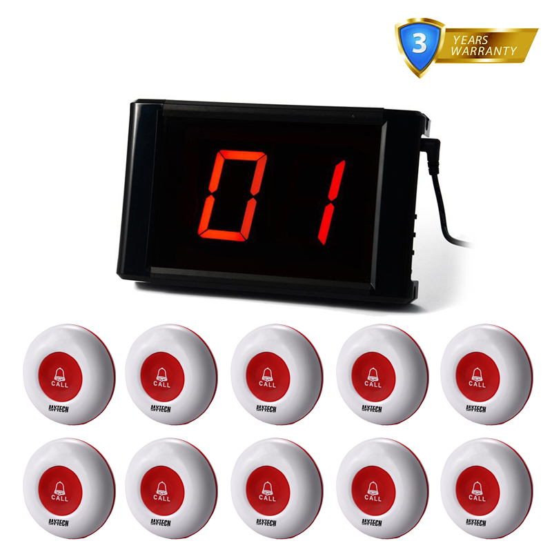 DAYTECH Waiter Pager Calling system 433MHZ Call Button Restaurant Queue System 1 Transmitter Panel 10 pcs Wireless Call Buzzer wireless calling system hot sell battery waterproof buzzer use table bell restaurant pager 5 display 45 call button