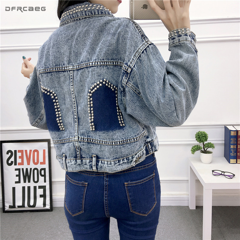 Patchwork Denim Jackets With Pearls Beading 2019 Spring Vintage Long Sleeve Women Jeans Coats Loose With Pockets Female Outwear-in Jackets from Women's Clothing    1