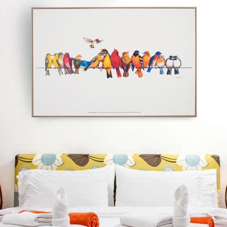 Grappige Canvas Olieverf Kleurrijke Vogels Canvas Art Leuke Mooie Vogel Foto Abstracte Unframed Home Decoratie Muurschildering