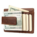 YOOMALL Wear-resisting Front Pocket Leather Wallet Card Case Holder Money Clip Includes 6 Card Slots 1 ID Window Drop Ship