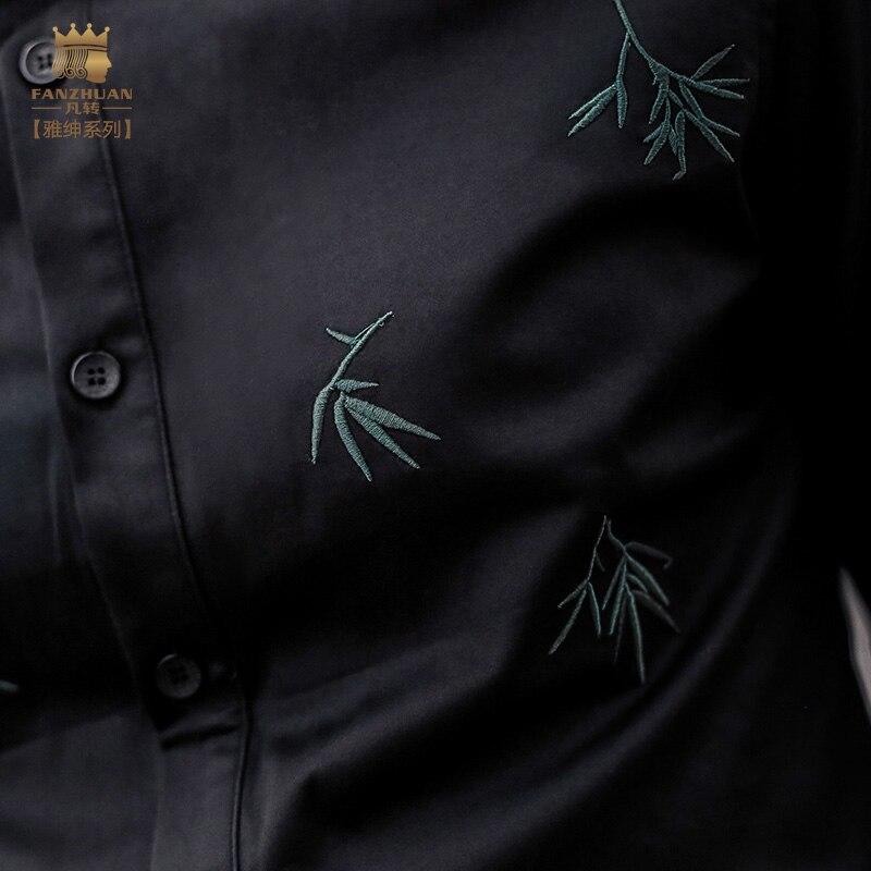 amp; Accessoires Brodé Marques Chemise Courtes D'été Fanzhuan Mode De Design Fleur Vedette À Noir Hommes Manches Vêtements tqCZEwg