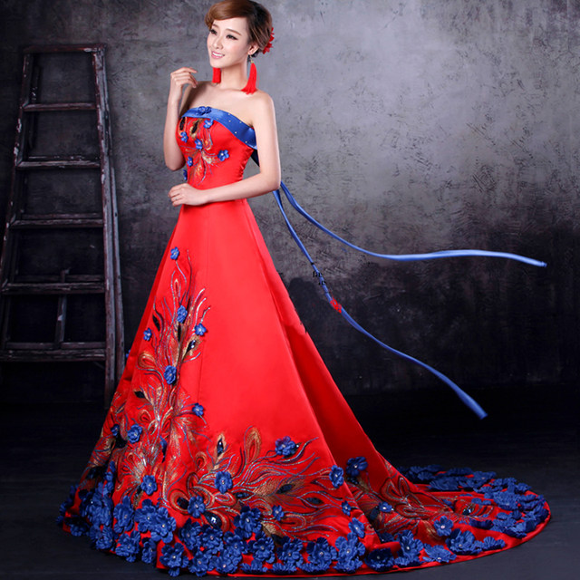 Online Shop 2016 Luxury Yellow Flower Embroidery Evening Gowns ...