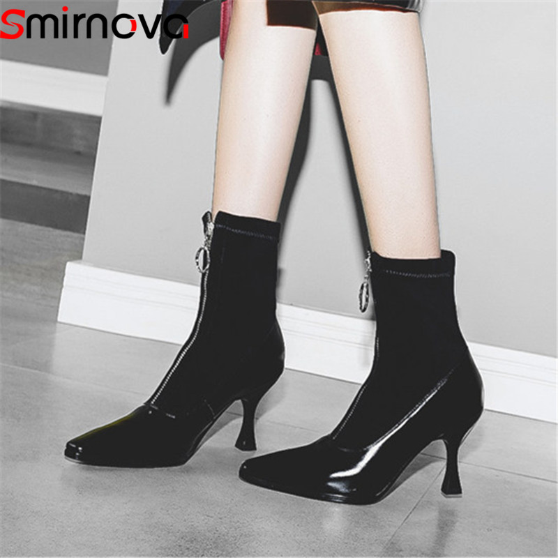 Smirnova big size 34-42 fashion autumn new shoes woma genuine leather high heels ladies boots mixed colors ankle boots women