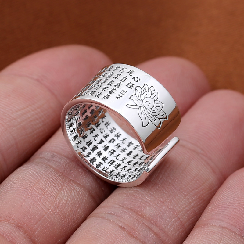 Real 925 Sterling Silver Rings Lotus Wide Rings For Men And Women Heart Sutra Engraved Chinese Words Buddhism Jewelry