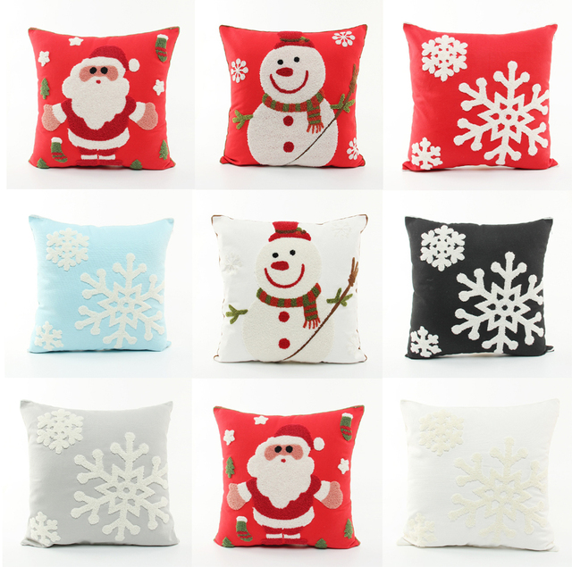 Embroidery Merry Christmas Festival Cushion Cover Embroidered Santa Claus Snowman Snowflakes Cushions Covers Sofa Pillow Case
