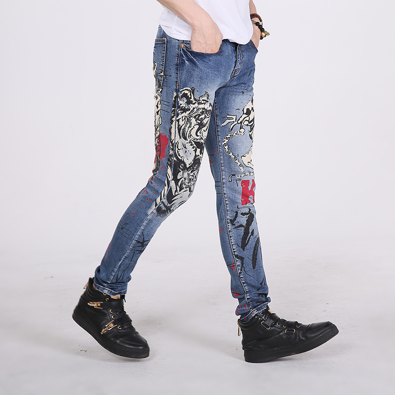 Printed Men Jeans Casual Slim Fit Wild Section Long Pants Brand Design Flag Pattern White Jeans Size 30-36 MB16165