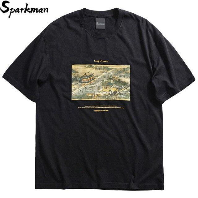 2019 Hip Hop T Shirt Streetwear Ancient Chinese Song Dynasty Painting T-Shirt Mens Cotton Short Sleeve Tshirts Summer Tops Tees