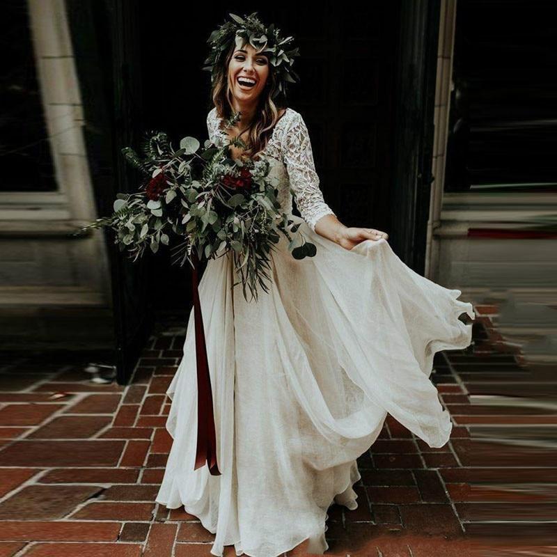 Boho Wedding Dress Long Sleeves A Line White Ivory Chiffon Lace Princess Beach Bride Two Pieces Wedding Gown 2020