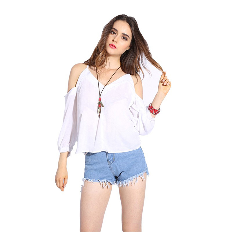 Dioufond 2018 Newest Summer Women Blouse White Chiffon Shirts Off Shoulder Female Tops V-Neck Solid Sexy Women Blouses