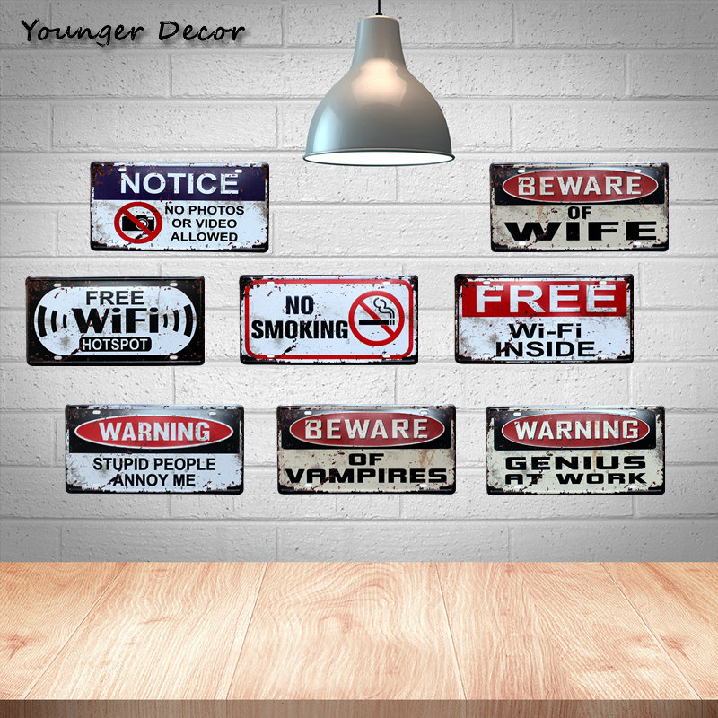 US $3 7 5% OFF|Warning Genius At Work Car Metal License Plate Free Wifi  Vintage Home Decor For Bar Cafe Pub No Photos Smoking Plaque YA001-in  Plaques