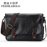 FEIDIKABOLO Brand Men Messenger Bags Retro Fashion Men S Crossbody Bag Designer Handbags Casual Black Leather