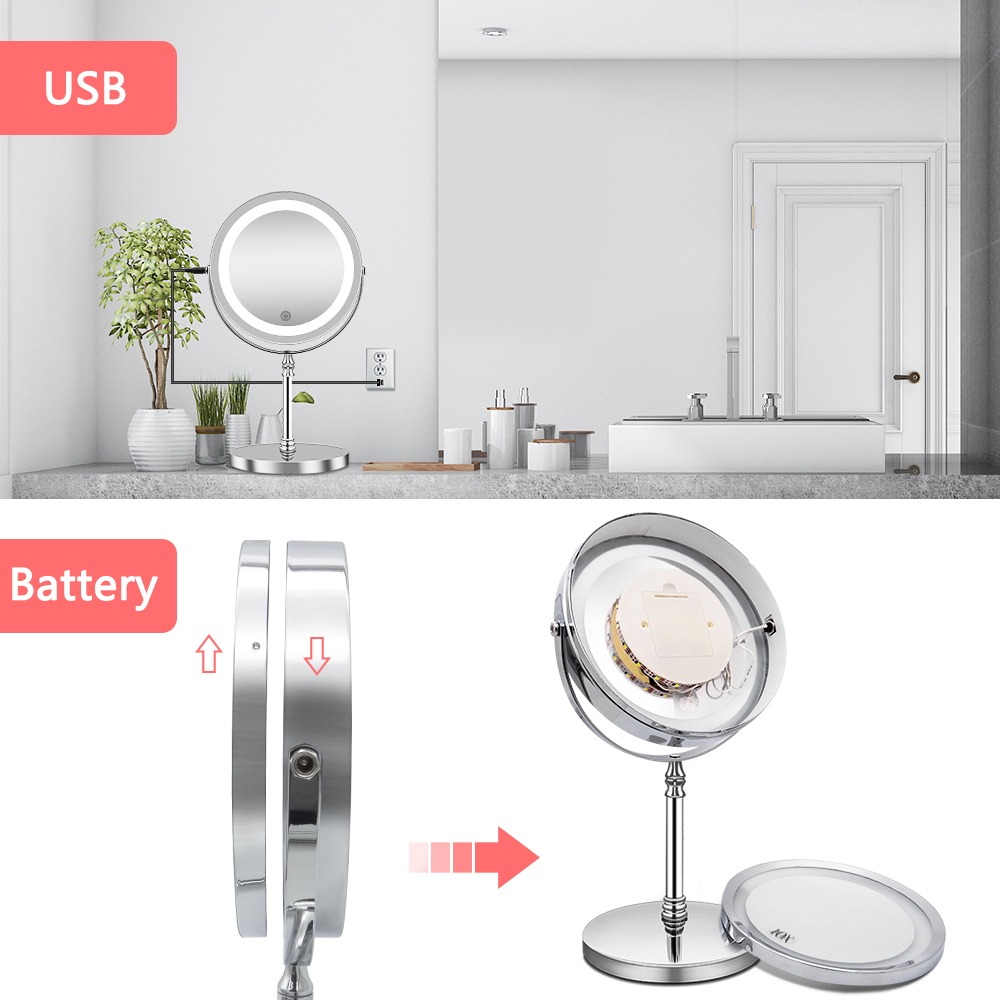 Image 4 - Makeup Mirror with Lights 10X Magnification Double Sided Vanity Mirror USB Charging Touch Dimming Bath Mirrors Christmas Gift-in Makeup Mirrors from Beauty & Health