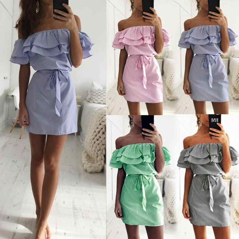 Sale Dress Women cheap cloth Striped Sashes Summer Dresses Ruffle Collar Bandage Sundress Casual Sexy Vestidos De Festa OYM0304