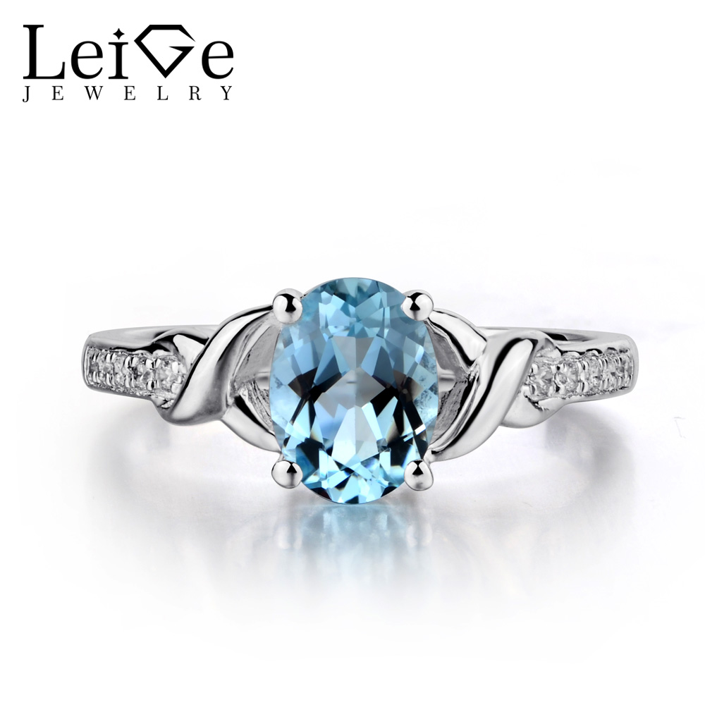 Leige Jewelry Oval Shaped Aquamarine Engagement Rings For Women Sterling Silver Blue Gemstone Ring March Birthstone