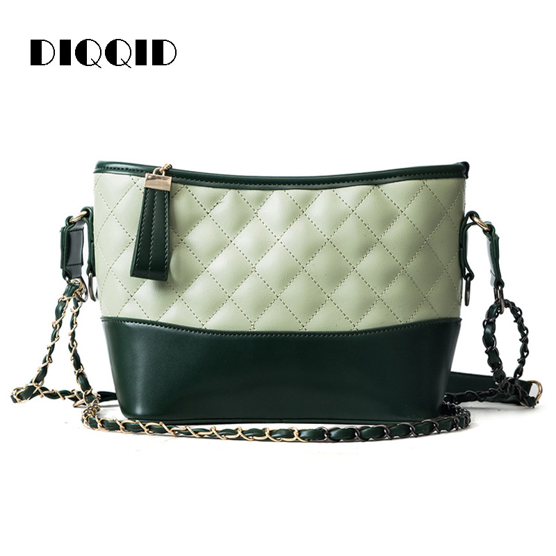 DIQQID Women Handbags Diamond Lattice Leather Patchwork Shoulder Bucket Bag Zipper Crossbody Messenger Bags for Women sac a main