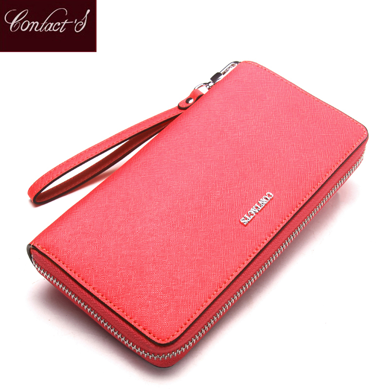 Contacts 2018 New Brand Design Genuine Leather Woman Wallets Cell Phone Card Holder Female Purse Clutch Women Wallet With Zipper contact s luxury brand women wallets genuine leather 2018 new long design ladies purse clutch bag card cell phone holder wallet