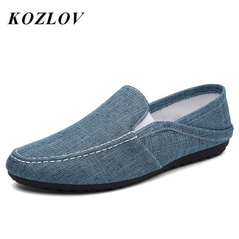 Appartements Espadrilles blue Zapatos Loafers Men Marque Homme Mode Hommes Toile Blue Sur Chanvre Occasionnels Gray Mocassins Chaussures Dark light Kozlov Slip De Hombre Loafers 6H40wxIq