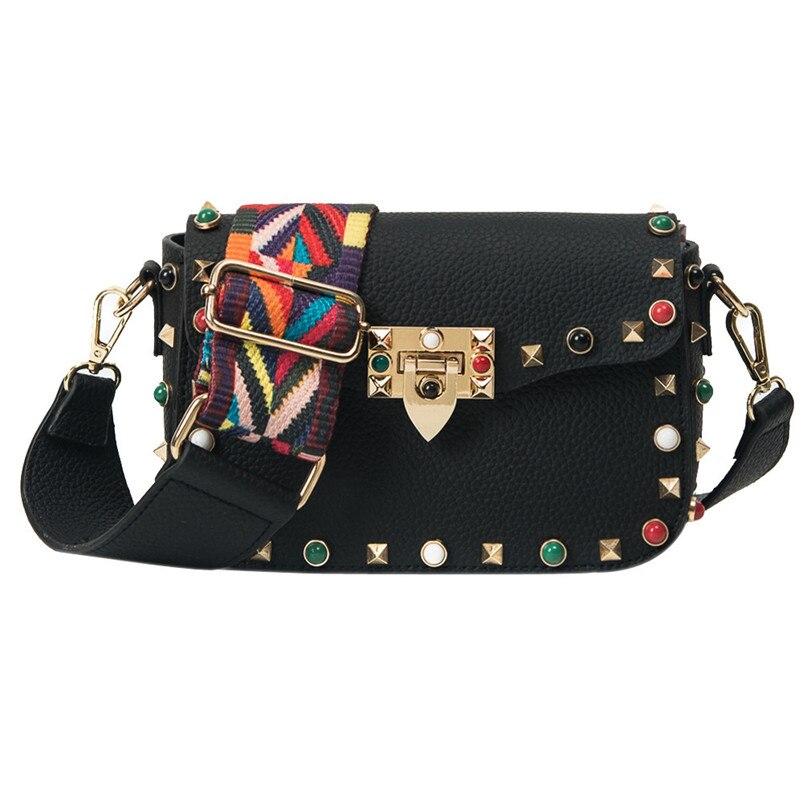 Messenger Bag Women Crossbody Bags 2018 Color Rivet Design Shoulder Bags Color Shoulder Strap Leather Female Womens Handbags A7
