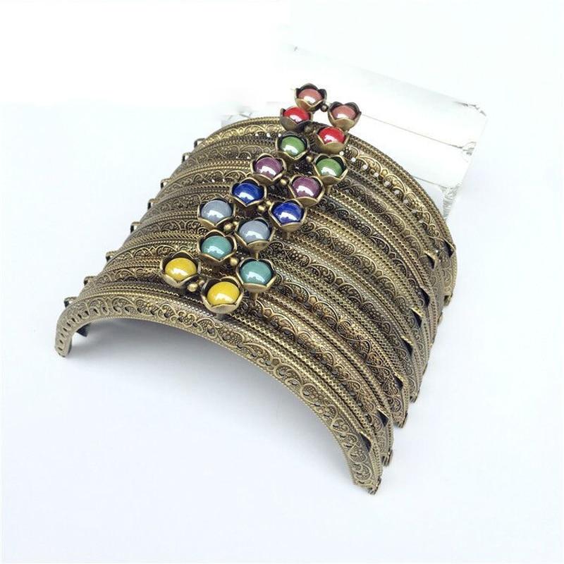 12.5cm Vintage Carved Edge Colorful Lotus Buckle Beautiful Women DIY Coin Bag Metal Clasp Purse Frame Hardware Set