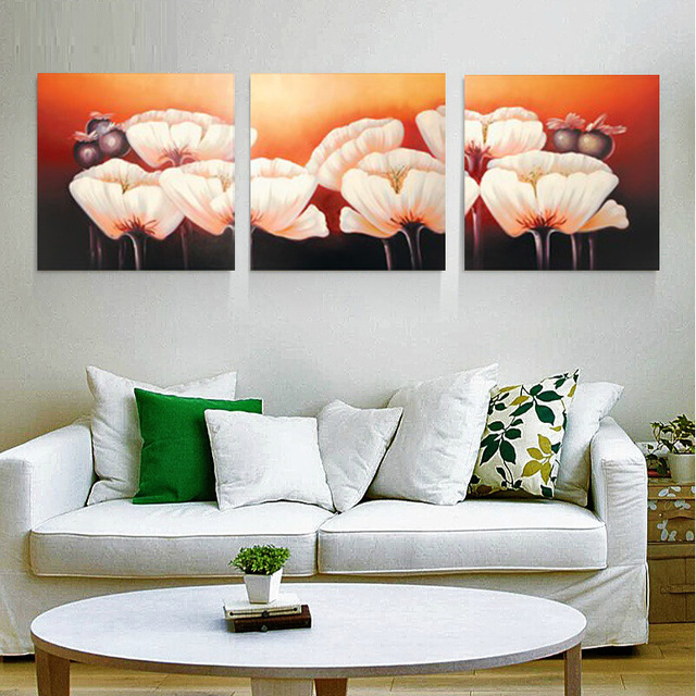 HEYI 3 Panel Modern Wall Art Picture Simple Canvas Paintings Print Lotus For Living Room Decoration