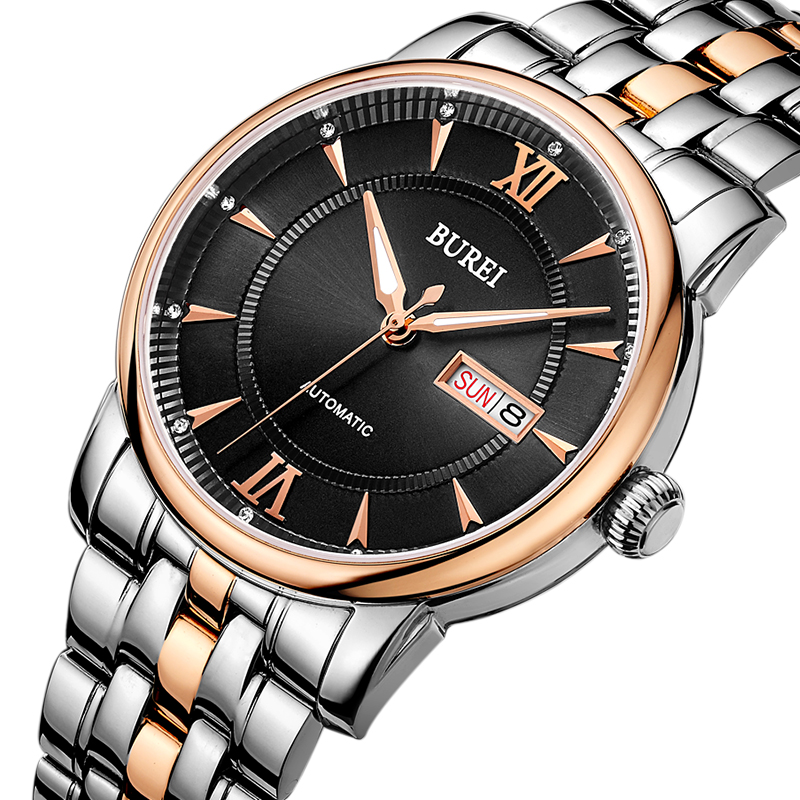 BUREI Automatic Watch Men Stainless steel 5ATM Waterproof Gents Wristwatch Business Casual Man Luxury Clock 2016 Relojes Hombre