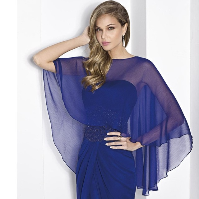 Custom made Colour Blue New Chiffon Wedding Shawl Wedding Wrap/ Party/ Evening Bridal Cape Boleros