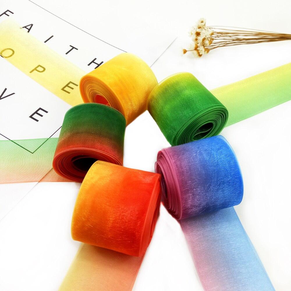 David accessories 1,5 «(38 мм) цвета радуги лента из органзы Лента Свадьба для упаковки подарков, DIY Волосы материал обечайки, 10Y47083