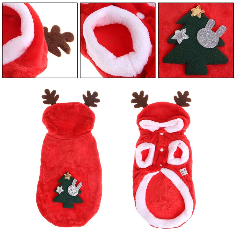 Pet Coat Christmas Tree Apparel Costume Deer Horn Hat Clothes New Year Dog Puppy
