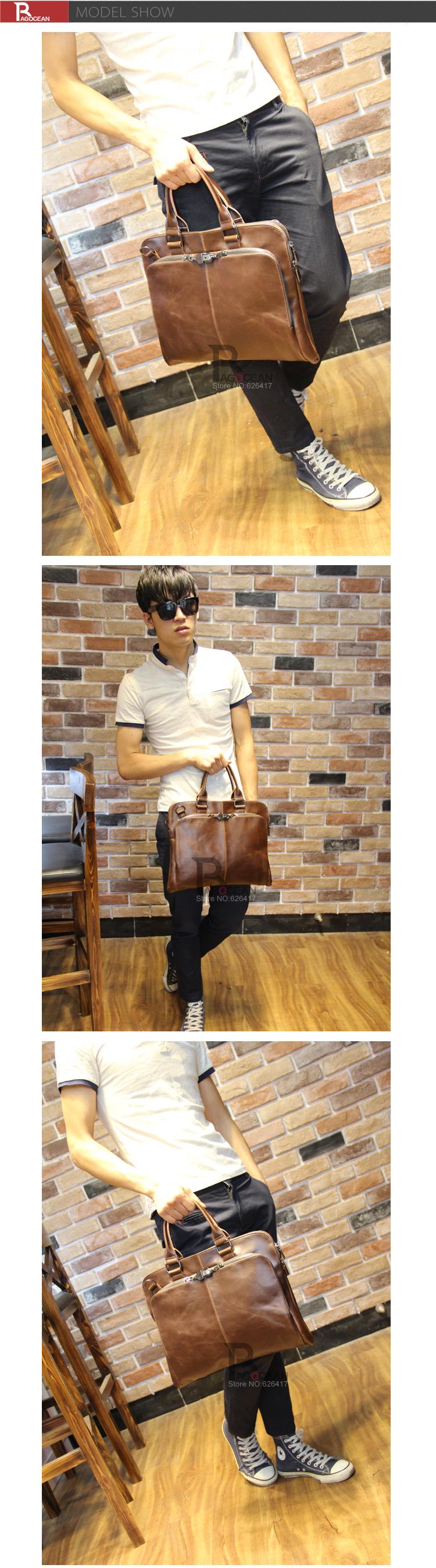 "New high quality pu leather Shoulder leisure men's bag business messenger portable briefcase Laptop large Purse 14"" Handbag 6"