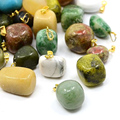 100pcs Mixed Natural Semi-precious Stone Pendants For DIY Women Jewelry Making Nuggets Silver 12~30x10~17m Hole: 3mm